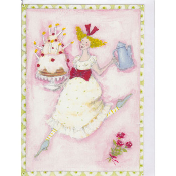 Karten Design Aspegren Girl Cake Coffee