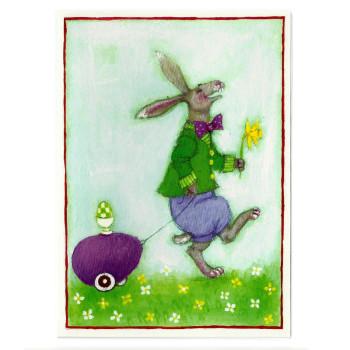 Ostern-Karte Design Aspegren Hare with Eggcart