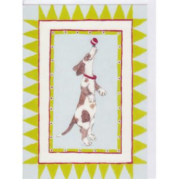 Postkarten Entwurf Hund Jonglierball