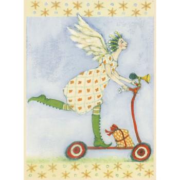 Postkarte Design Angel on scooter