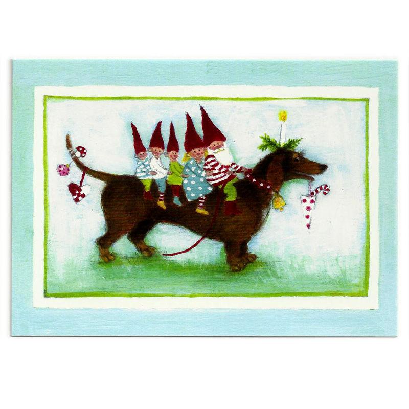 Postkarte Design Aspegren Pixies on a Dog
