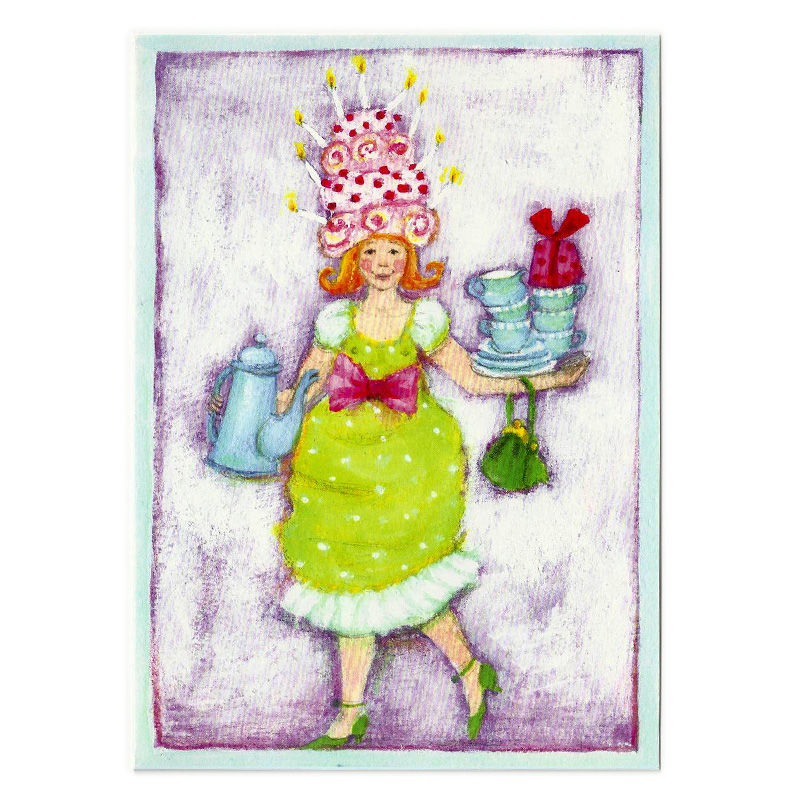 Postkarte Design Lady with a Cookies Hat