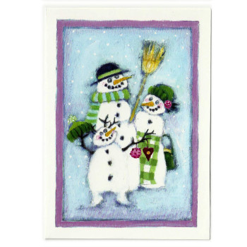 Postkarte Design Aspegren Snowman Family
