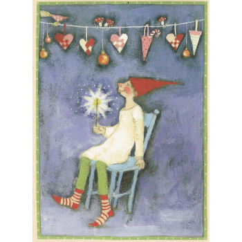 Postkarte Design Aspegren Pixy with sparkler