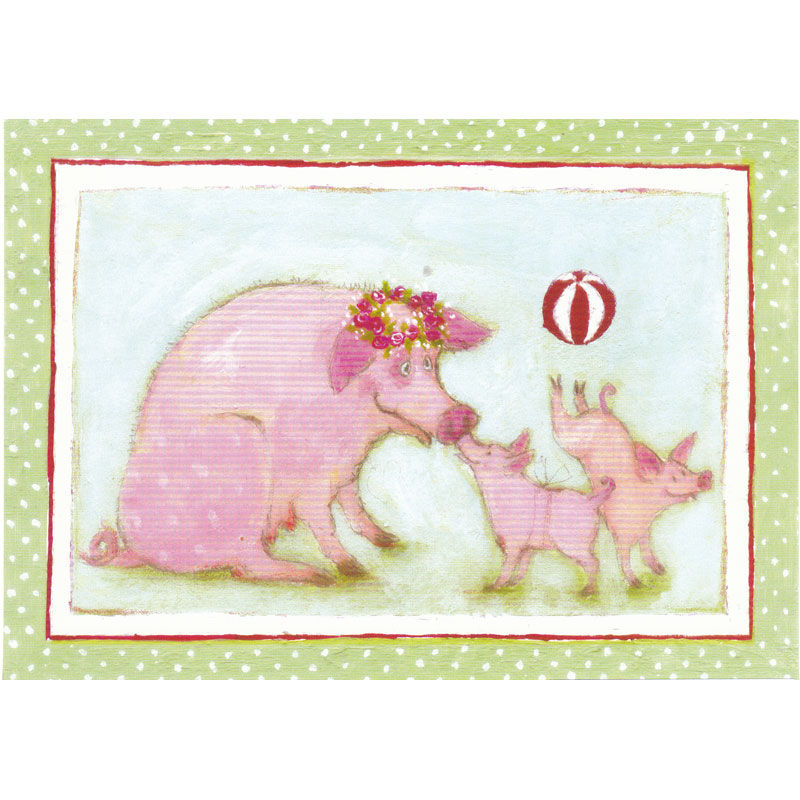 Postkarte Design Aspegren Denmark Piggy Family