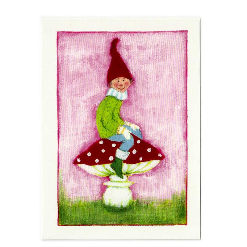 Postkarte Design Aspegren Pixy On Mushroom