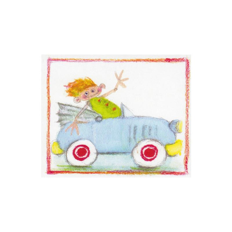 Til og Fra Kort Design Aspegren Boy in Car