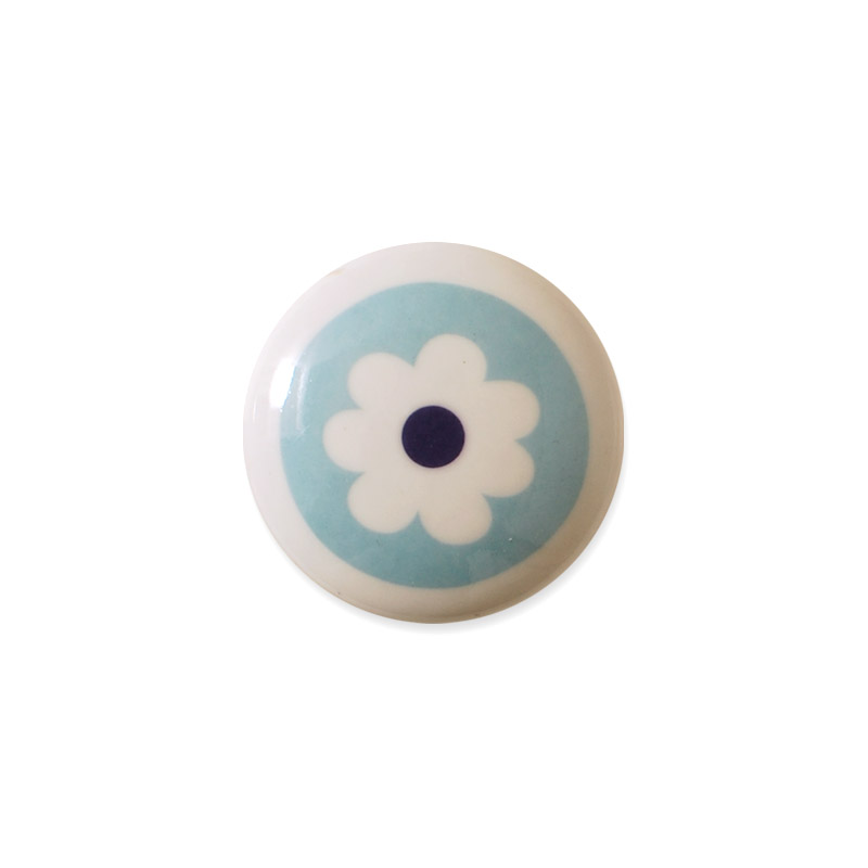 Mini Knob Design Aspegren Denmark Flower Blue