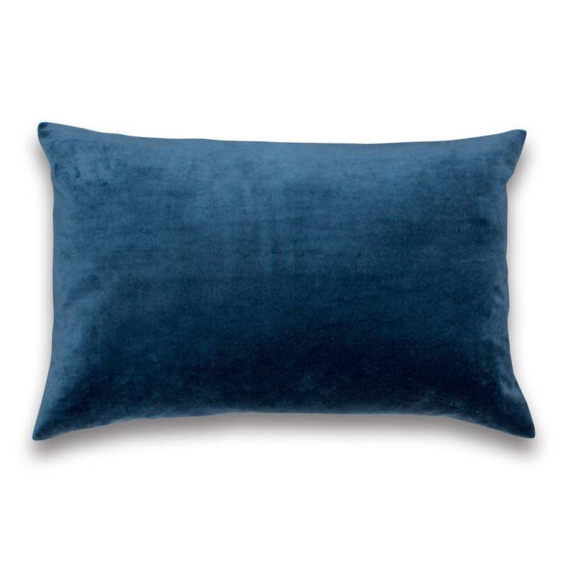 Cushion Velour Design Aspegren Solid Indigo Blue