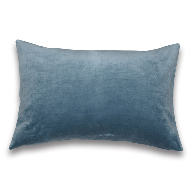 Cushion Velour Design Aspegren Solid Blue Shadow