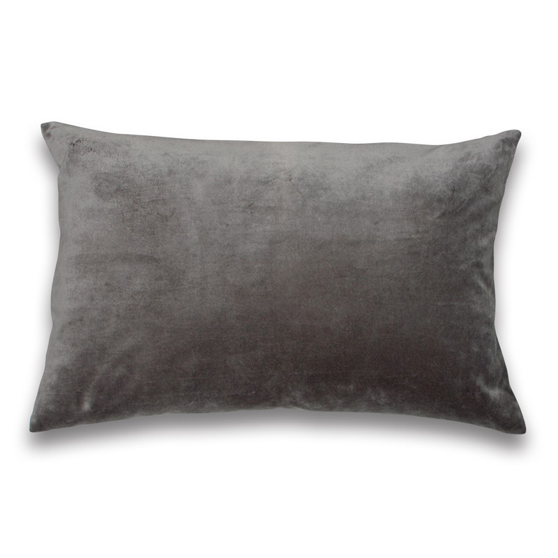 Cushion Velour Design Aspegren Solid Dark Gray