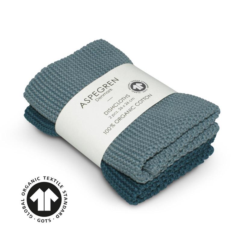 Dishcloth Knitted Design Aspegren Solid Blue