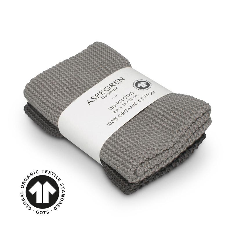 Dishcloth Knitted Design Aspegren Solid Gray