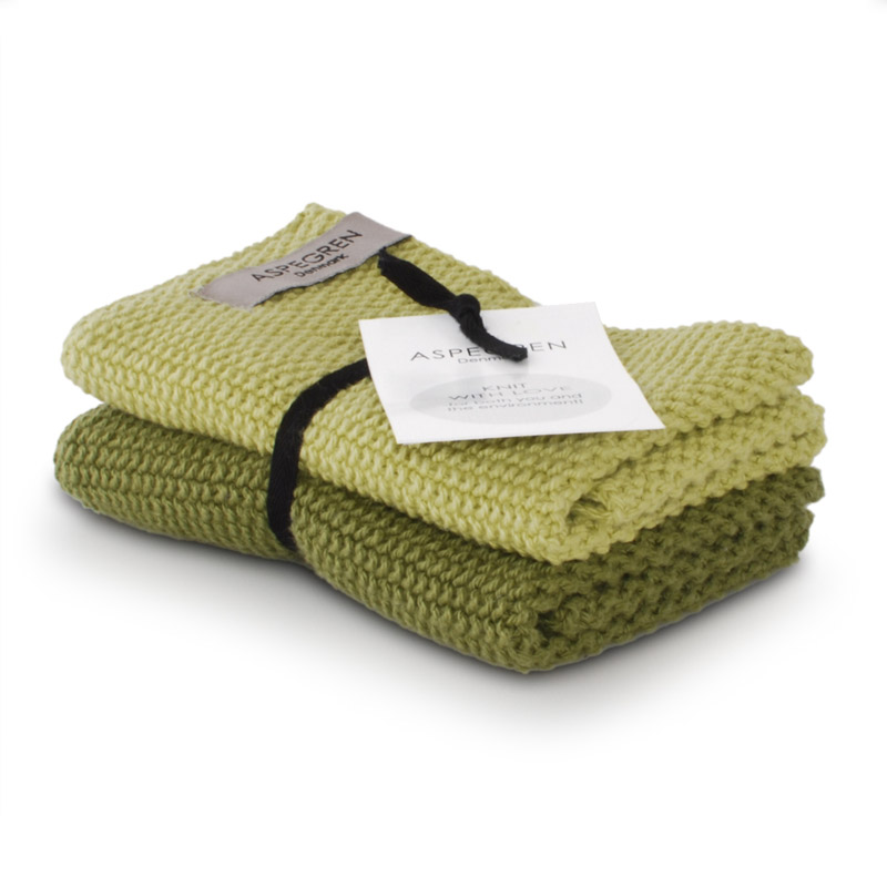 Dishcloth Knitted Design Aspegren Solid Green