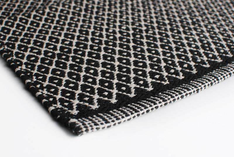 Gulvløber Bomuld Design Aspegren Denmark Rhombe Black