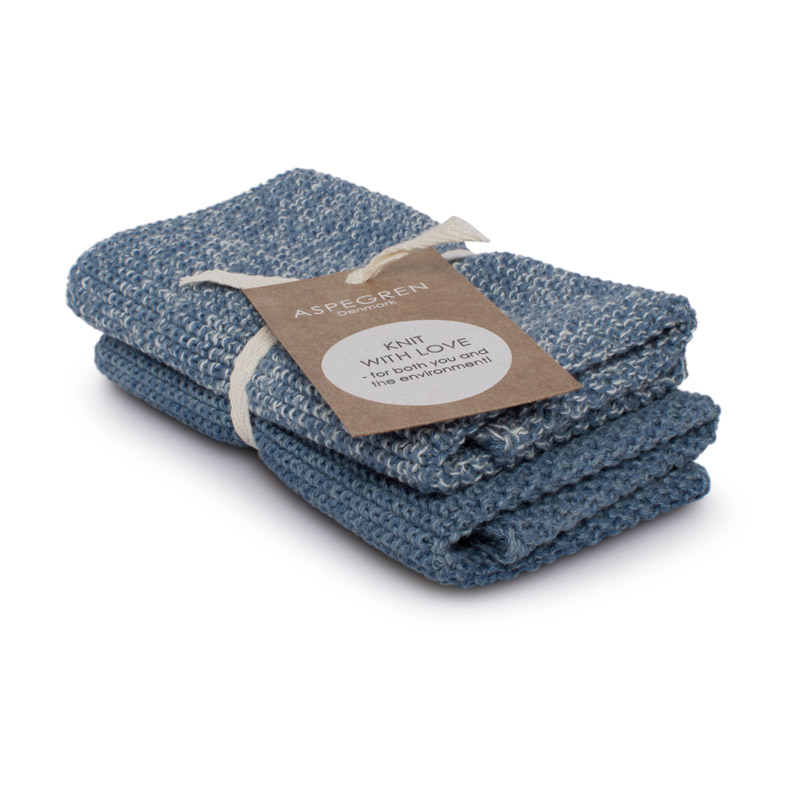 Dishcloth Knitted Design Aspegren Blend Blue
