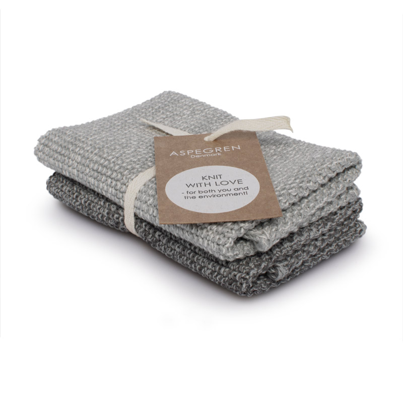 Dishcloth Knitted Design Aspegren Blend Gray