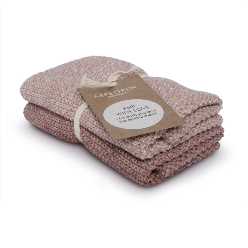 Dishcloth Knitted Design Aspegren Blend Mauve