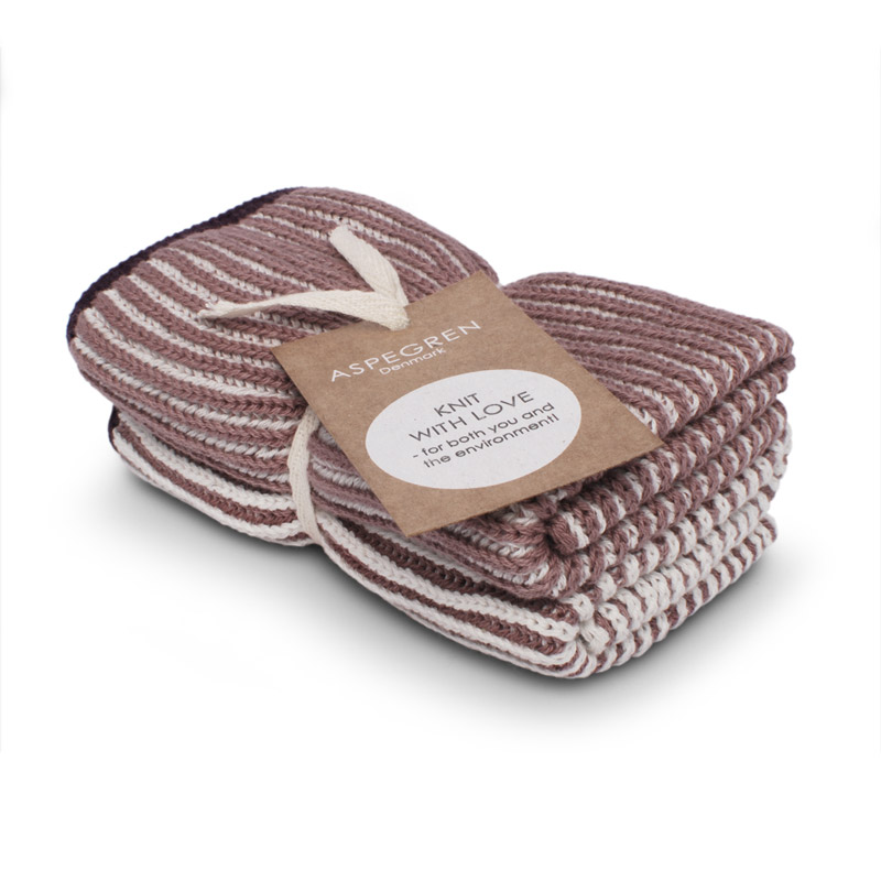 Dishcloth Knitted Design Aspegren Lamella Mauve