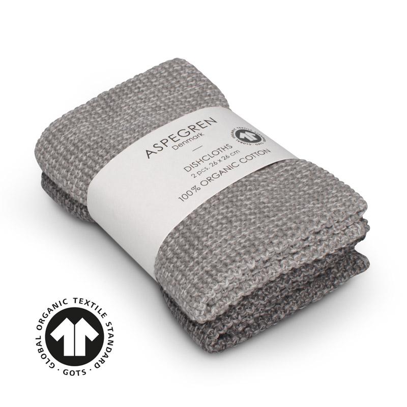 Dishcloth Knitted Design Aspegren Blend Gray