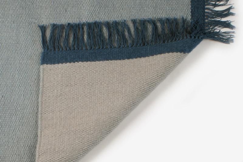 Gulvløber Uld Design Aspegren Kelim Solid Blue 70x130