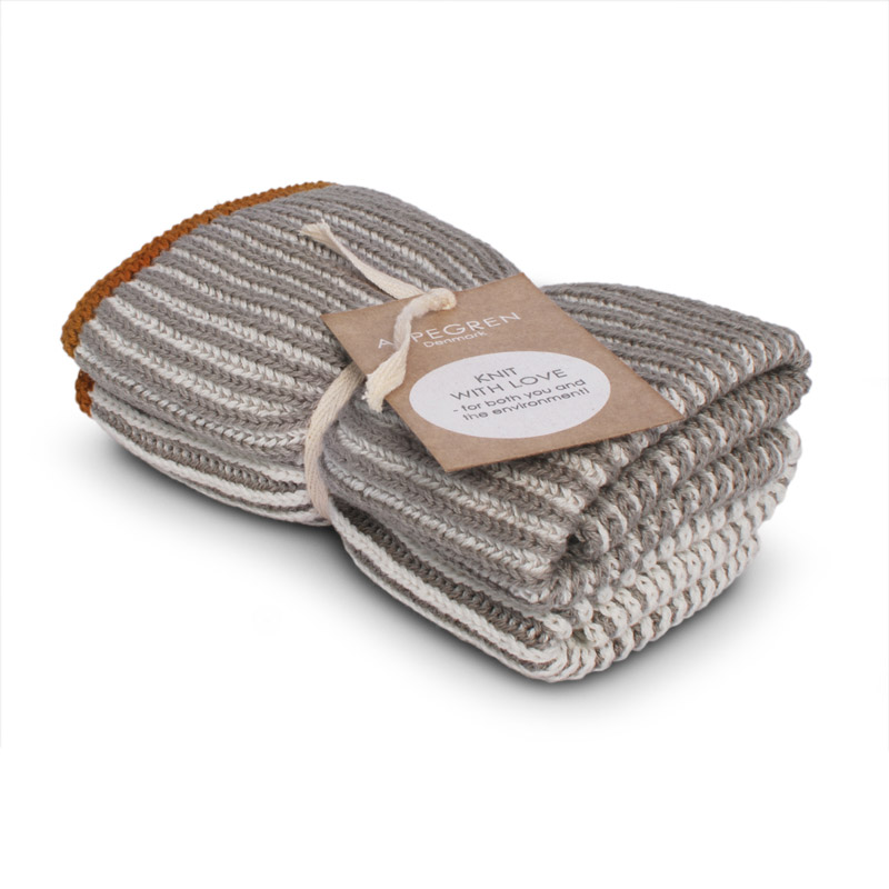 Dishcloth Knitted Design Aspegren Lamella Light Gray