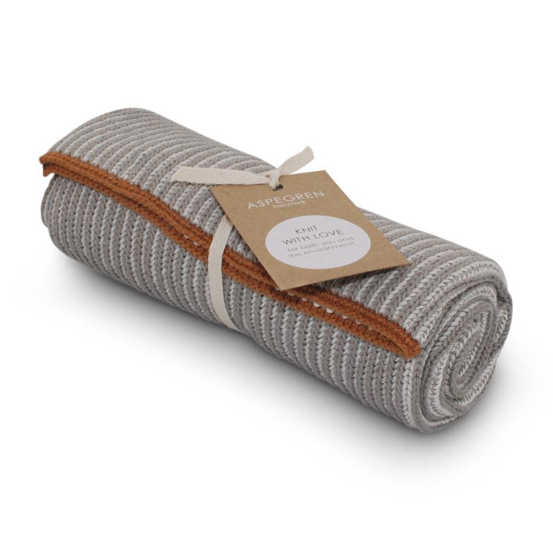 Handtuch Gestricktes Design Aspegren Lamella Light Gray