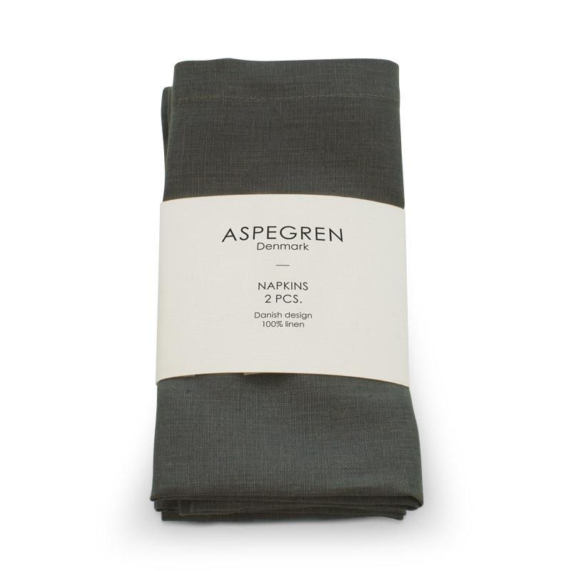 Leinen Servietten Design Aspegren Dark Gray