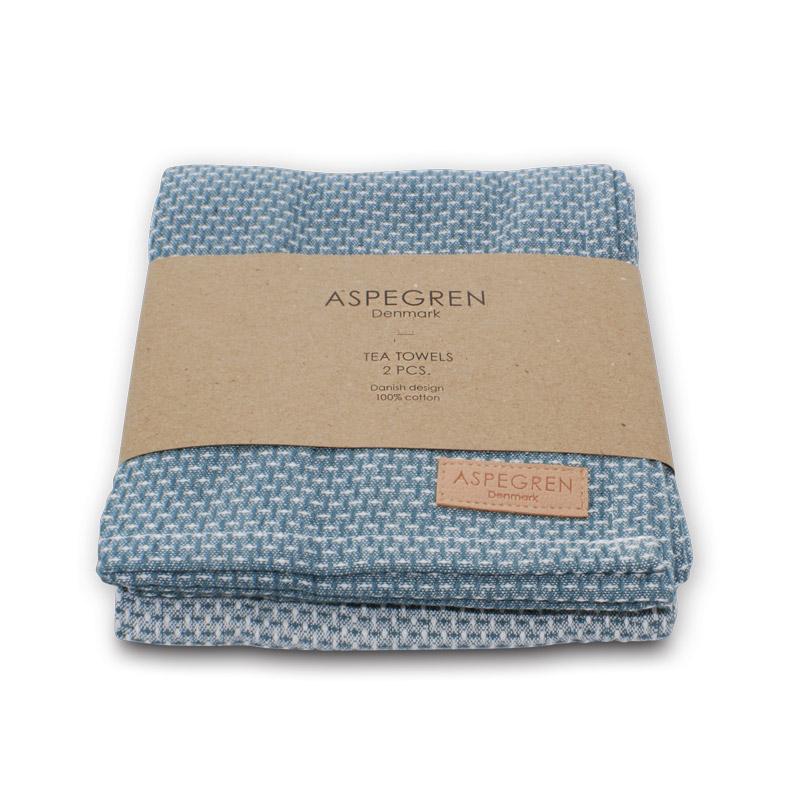 Tea Towel Design Aspegren Waffle Indigo Blue