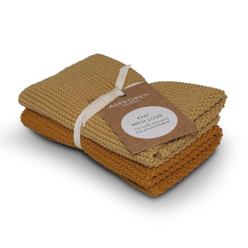 Dishcloth Knitted Design Aspegren Solid Mustard