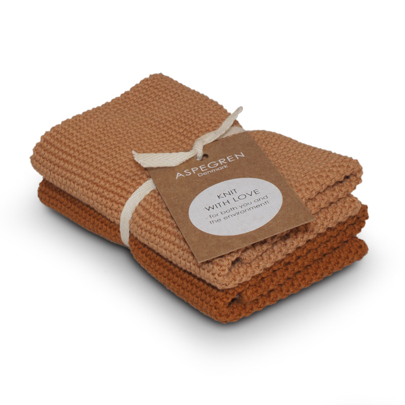 Dishcloth Knitted Design Aspegren Solid Pumpkin