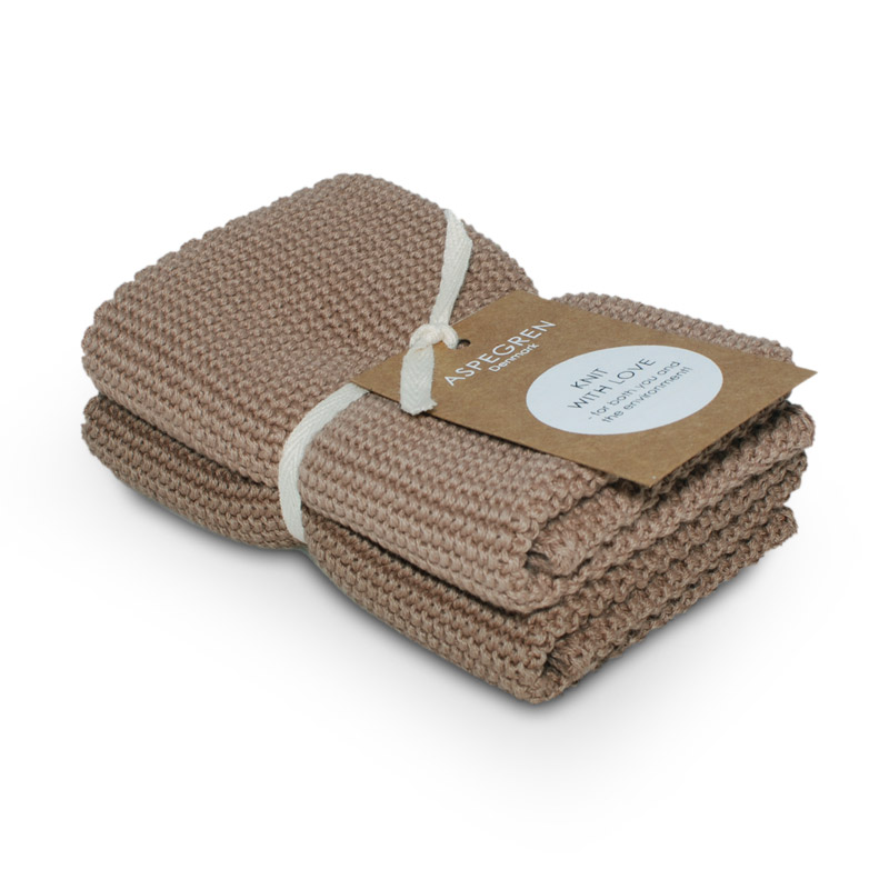 Dishcloth Knitted Design Aspegren Solid Mocha Mousse