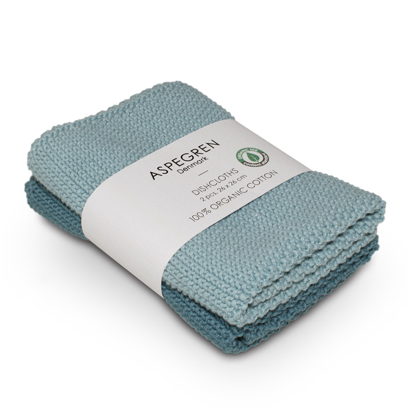 Dishcloth Knitted Design Aspegren Solid Aqua