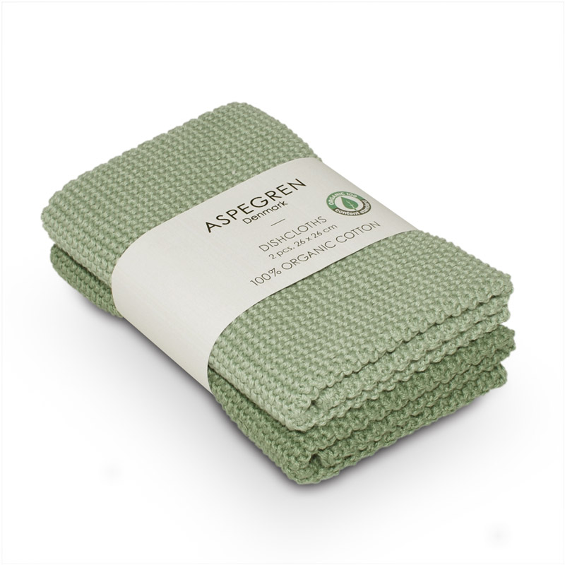 Dishcloth Knitted Design Aspegren Solid Laurel Green