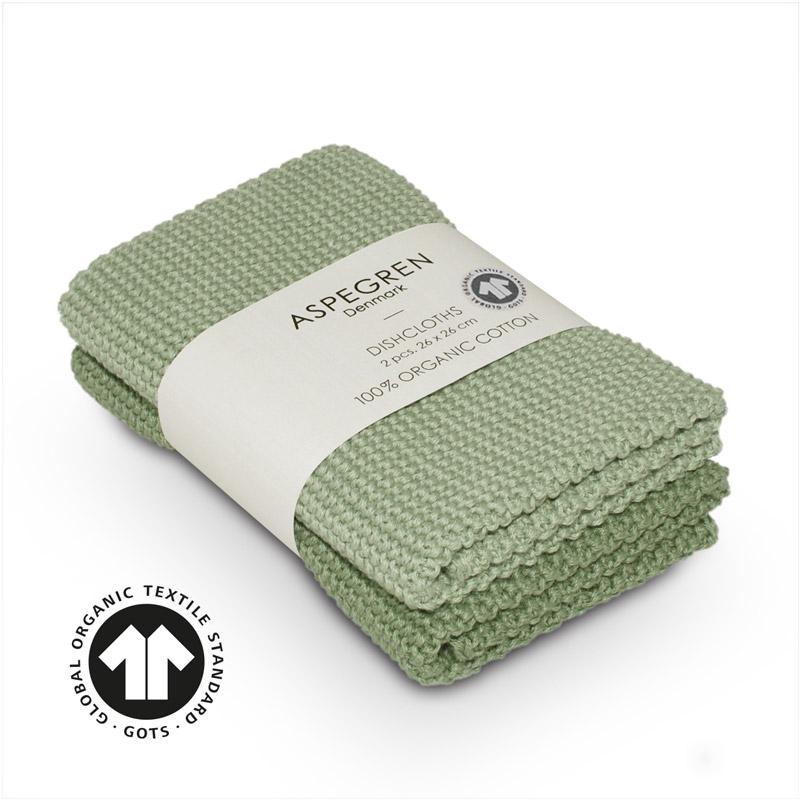 Dishcloth Knitted Design Aspegren Solid Laurel Green