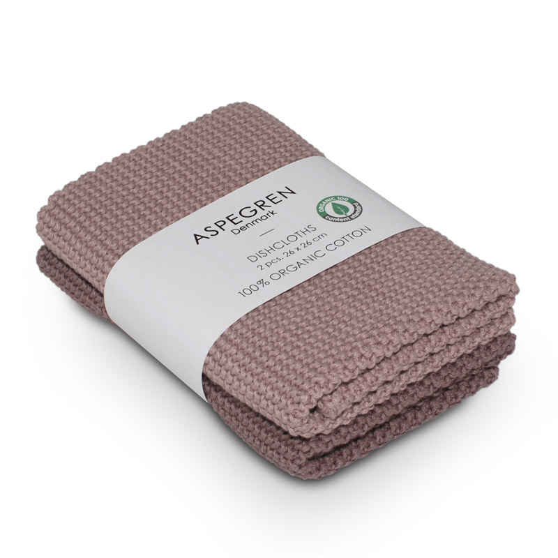 Dishcloth Knitted Design Aspegren Solid Mauve