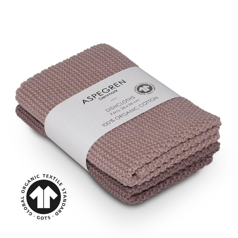 Dishcloth Knitted Design Aspegren Solid Mauve
