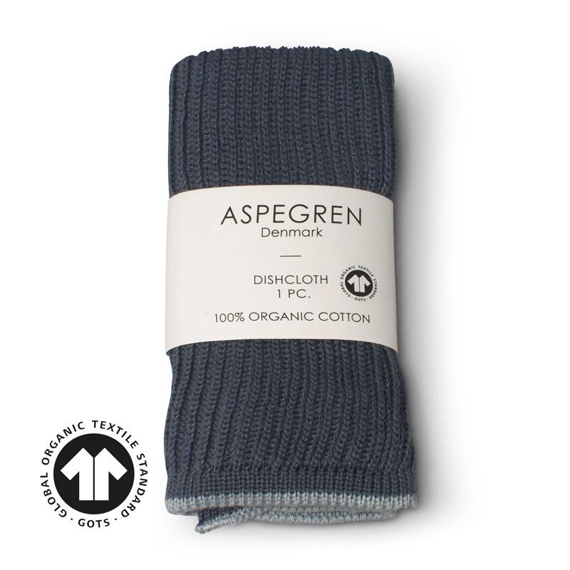 Dishcloth Knitted Design Aspegren Ripple Navy Blue