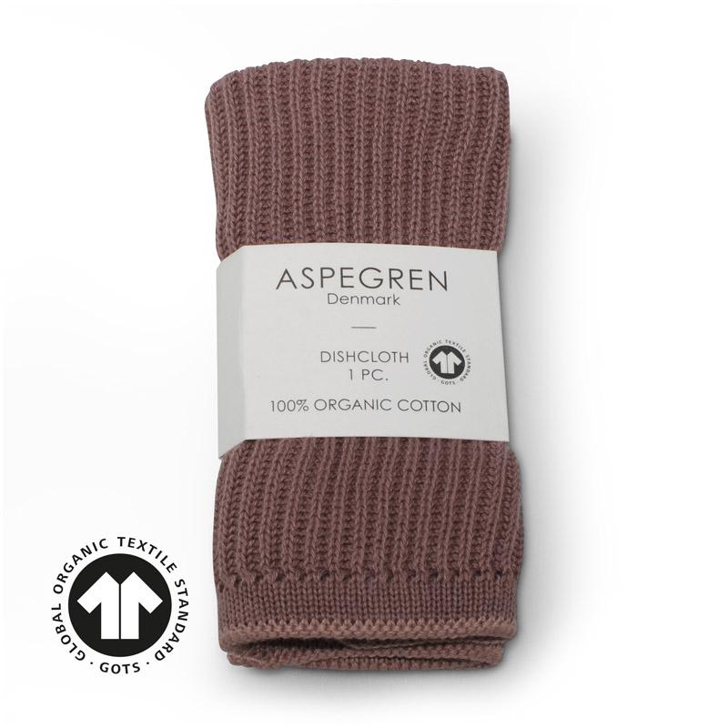 Dishcloth Knitted Design Aspegren Ripple Elderberry