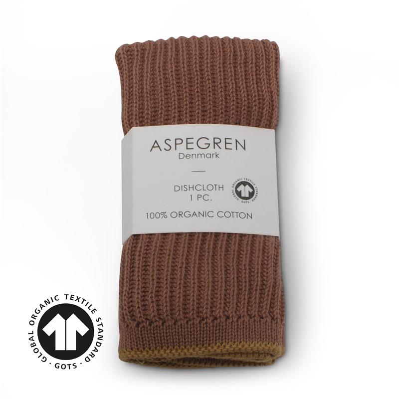 Dishcloth Knitted Design Aspegren Ripple Rootbeer