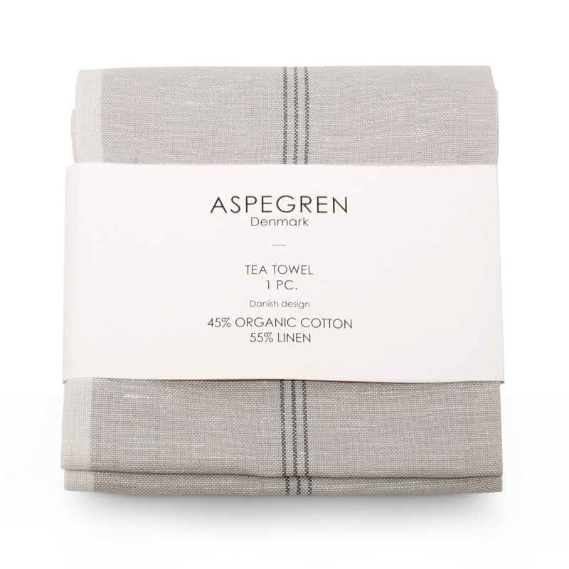 Tea Towel Design Aspegren Pinstripes Silver Gray