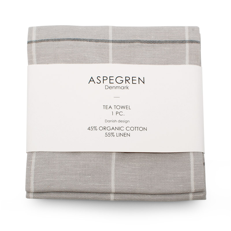 Tea Towel Design Aspegren Squares Silver Gray